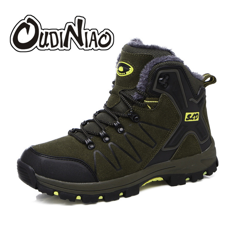 OUDINIAO Men Boots Winter With Fur 2019 Warm Snow Boots Men Winter Boots Work Shoes Men Footwear    Fashion Ankle Shoes Big Size