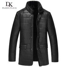 Dusen Klein Men Genuine Leather Jacket Woolen Liner Mink Fur Collar Sheepskin Black/Brown/Slim/Business winter coats 15J8888