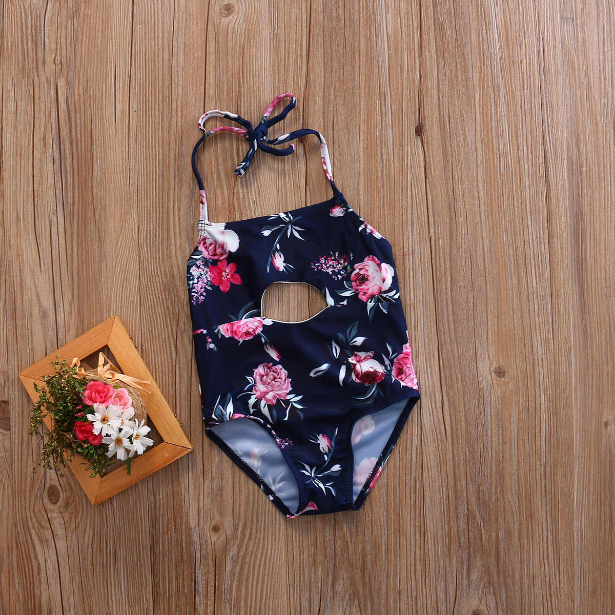 1e3b6ce7c1ebf ... Toddler Baby Girls Kids Swimsuit Bathing Tankini Bikini Set Swimwear  Beachwear Black Floral Print ...