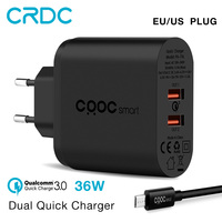 CRDC Quick Charge 3.0 (Compatible with QC 2.0) 36W Fast usb charger for phone Travel wall charger adapter for oneplus 5t Xiaomi