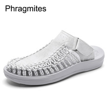 Phragmites newly hole slippers free shipping soft sandals high quality PU summer shoes England cool sandals men shoes цена 2017