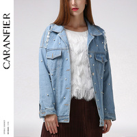 CARANFIER 2018 Spring Pearl Beading Ripped Denim Jackets Female Casual Jeans Jacket Women Basic Coats Feminino