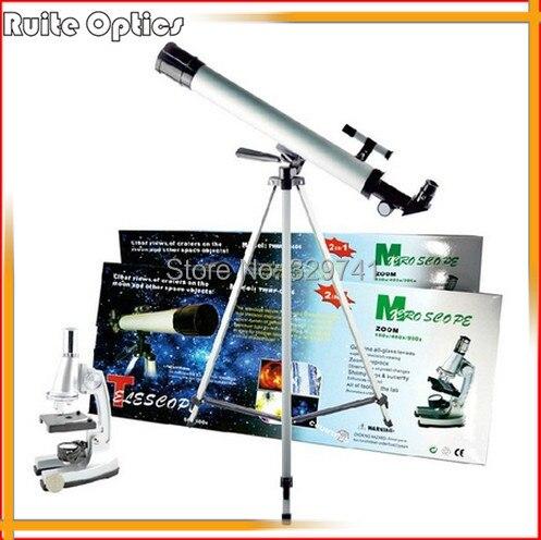 2 en 1 1200x Zoom étudiant Microscope biologique et 100x jouet éducatif télescope astronomique pour enfants cadeau d'intelligence