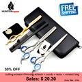 30% de descuento HUNTERrapoo 7 pulgadas y 8.5 pulgadas profesionales de peluquería tijeras set, kits de Afeitar tijeras adelgazamiento tijeras de acero Inoxidable