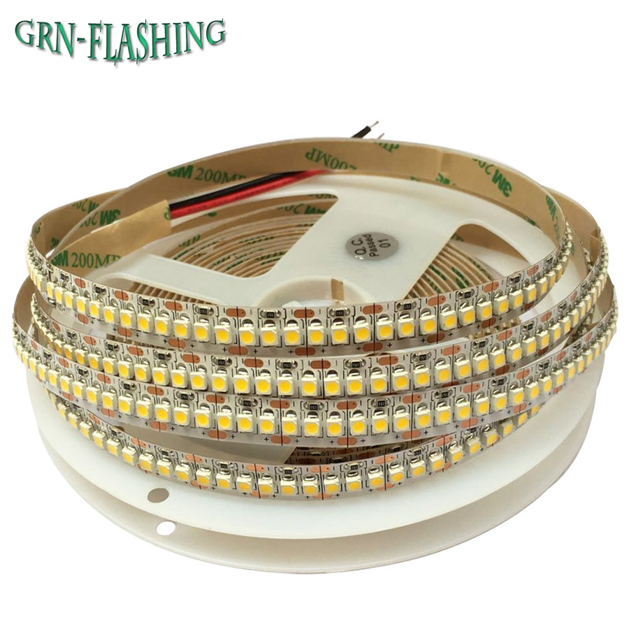 Tira de LED 1M 2M 3M 4M 5M 3528 240LEDs / m DC12V Alto brillo No impermeable 2835 Cinta LED flexible Luz Blanco cálido / Blanco