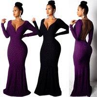 Women's Fashion Summer Classic Dresses Long Sleeve V Neck Backless Elastic Slim Fit Patchwork Dresses Vestidos