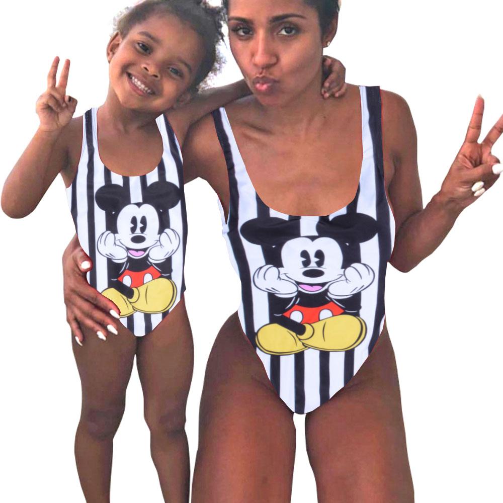 Mother Girl Swimwear Mommy and Me Family Matching One Piece Swimsuits Beachwear Cute Cartoon Mickey Print Sporty Monokini Bikini 1