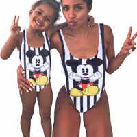 Mutter Mädchen Bademode Mama und Mich Familie Passende Ein Stück Badeanzüge Bademode Nette Cartoon Mickey Druck Sportliche Monokini Bikini
