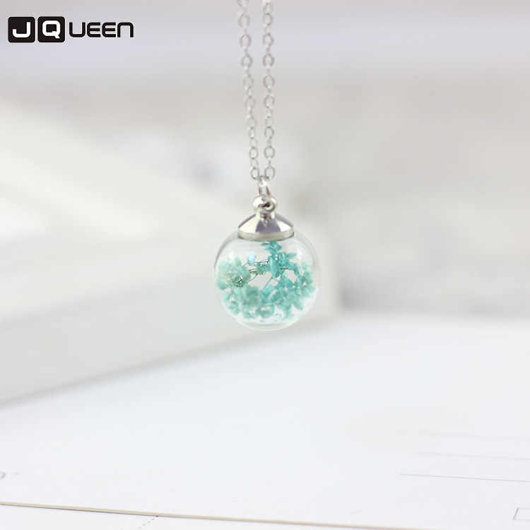 2018 Cherry Blossom Dandelion Dried Flower Clavicle Pendant Necklace Plant Glass Ball Necklace Women Sweet Birthday Gift Jewelry