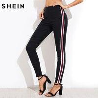 Shein señoras lado rayado Pantalones estrechos alta cintura mujer Pantalones casual mujeres otoño negro zipper Fly skinny Pantalones