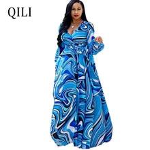 QILI Summer Chiffon Printed Dress Women Long Sleeve V-Neck Loose Long Maxi Dresses Beach Casual Dress Plus Size S-5XL 16 Color