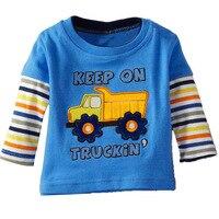 CL0009 Menino Da Criança Luva Cheia T-shirt Criança T Caminhão Algodão Casual Blusa Tops roupas de Bebê Roupas de Primavera das Crianças