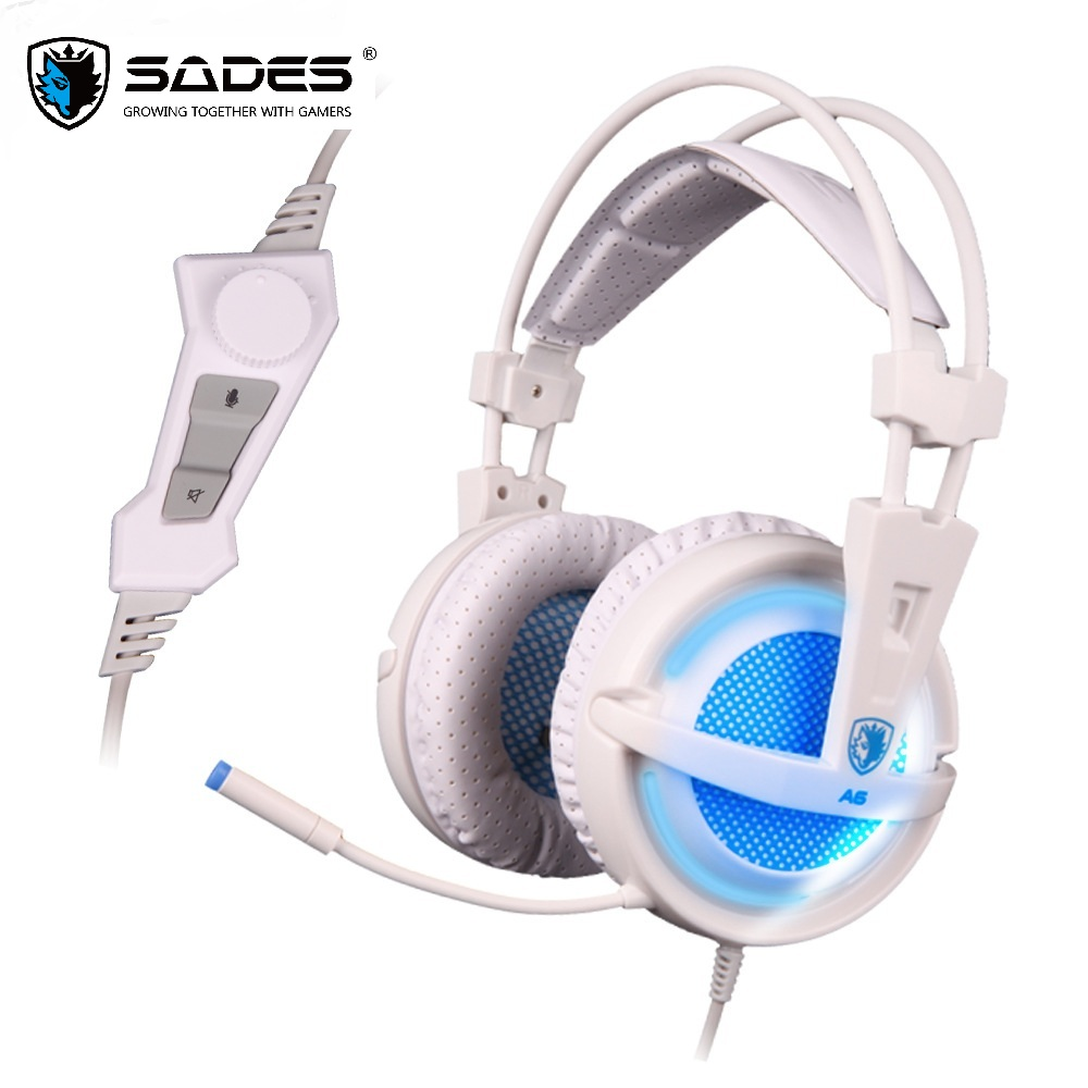 SADES A6 USB 7.1 Stereo wired gaming headphones game headset over ear with mic Voice control for laptop computer gamer 16