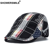 SHOWERSMILE Mens Cotton Beret Cap Embroidery Black Flat Retro Male Plaid Print Brand British Gatsby Style 2019 Spring Hats