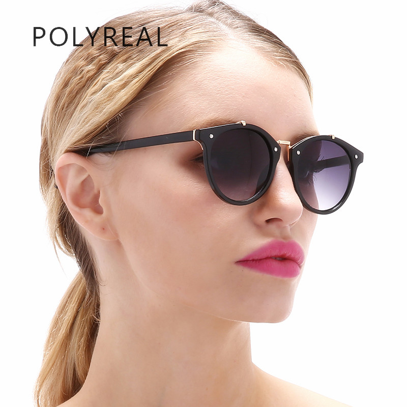 955afa8b5e POLYREAL Luxury Cat Eye Sunglasses Women 2017 Brand Designer Retro Vintage  Mirror Rivet Sun Glasses For