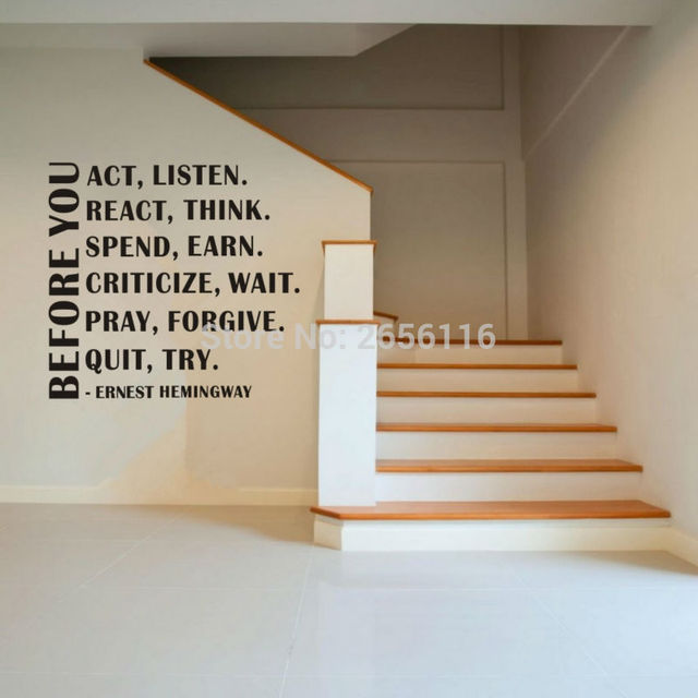 classic ernest hemingway quotes wall stickers before you act listen