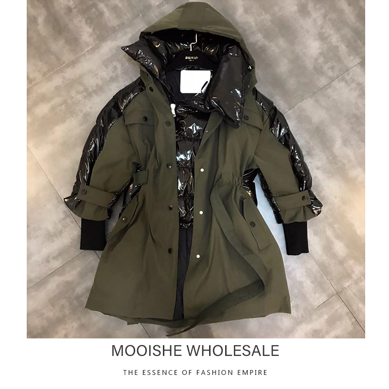 2019 Winter Army Green   Parka   Hooded Women Long-sleeved Stitching Drawstring Waist Fake Two Long Cotton Long Coat