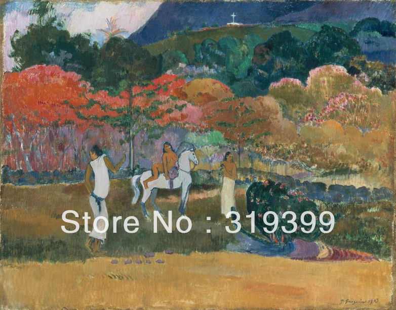 Paul Gauguin  Oil Painting Reproduction on Linen canvas, Women and a White Horse ,Free DHL Shipping,Museum Quality,100% handmadePaul Gauguin  Oil Painting Reproduction on Linen canvas, Women and a White Horse ,Free DHL Shipping,Museum Quality,100% handmade