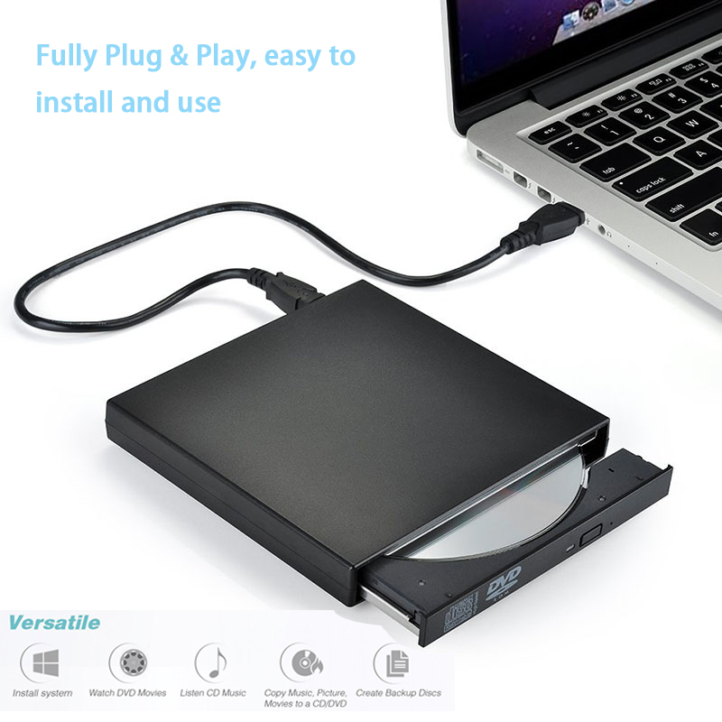 external dvd rom optical drive usb 2 0 cd dvd rom cd rw player burner slim portable reader. Black Bedroom Furniture Sets. Home Design Ideas