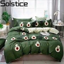 Solstice כותנה פסטורלי פרח Cartoon סגנון אופנה מצעים מצעי מיטת גיליון שמיכה כיסוי הציפית 4pcs מצעים סטים/מלכת