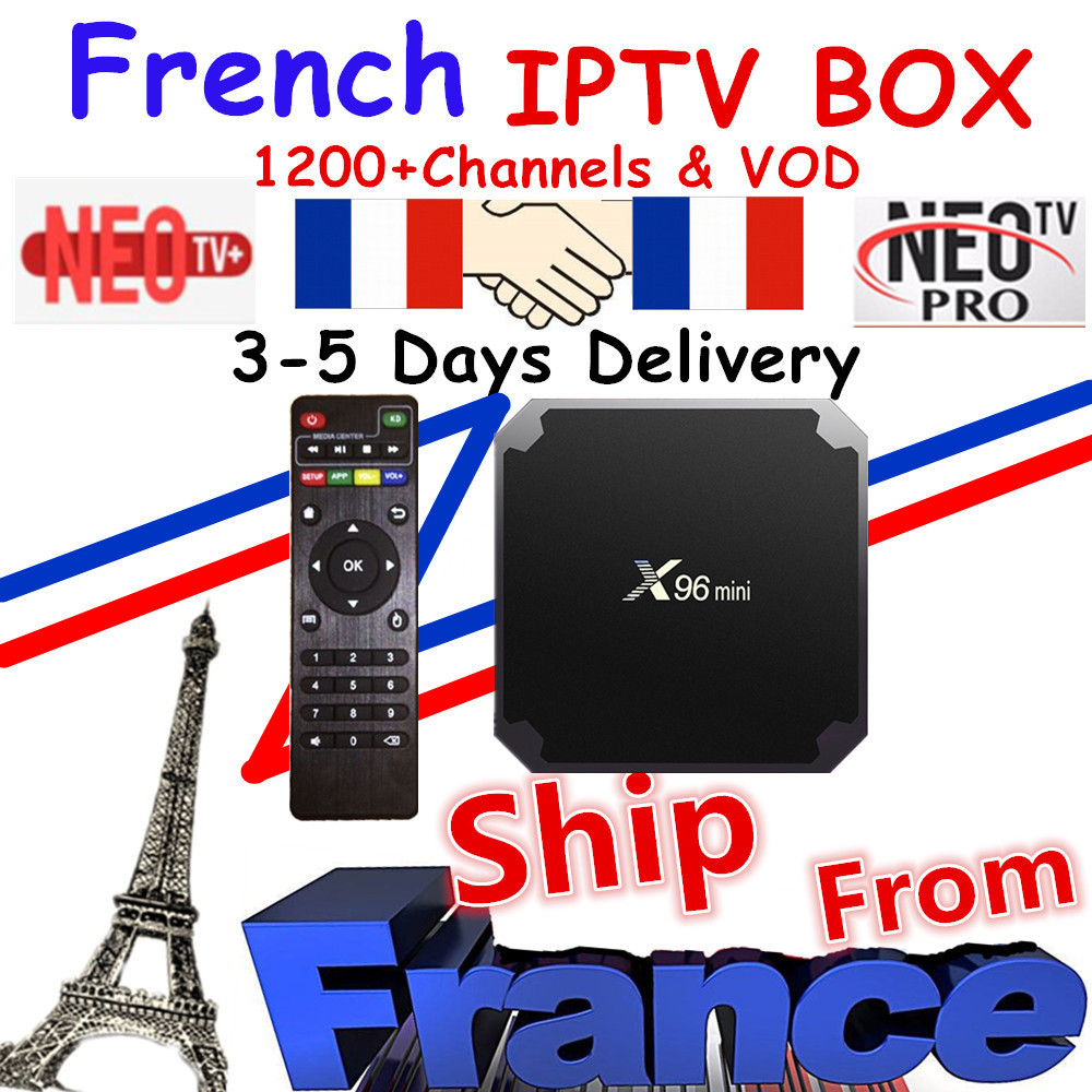 Best French IPTV Box X96 Mini Android TV Box With 1200+ 1 Year IPTV Europe France Arabic Africa Morocco Football Smart IP TV Box