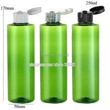 Бесплатная Доставка-20 шт./лот 250 МЛ Зеленый Пэт Бутылка С Flip Top Cap, 250 МЛ ПЭТ Бутылка Шампуня, 250 мл Зеленый Пластиковый Контейнер