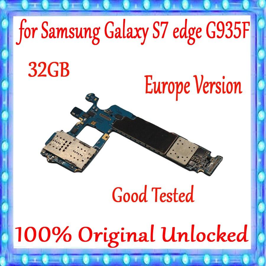 Avec système Android pour carte mère Samsung Galaxy S7 edge G935F 32 GB, Original débloqué pour carte mère Galaxy S7 G935F, Version EU