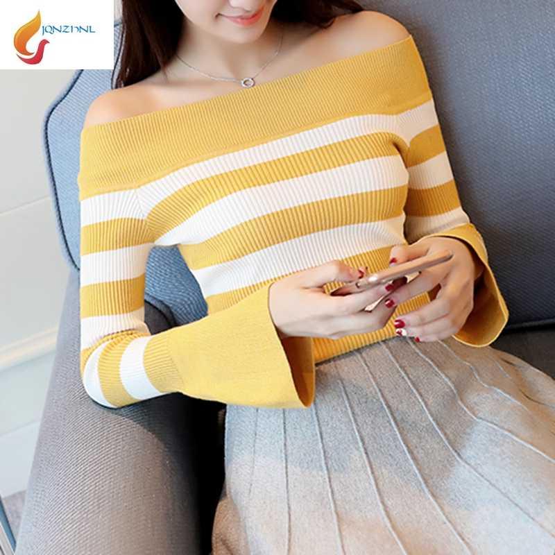 JQNZHNL 2019 אביב סתיו נשים סוודר סרוג סוודרים סלאש צוואר פסים סריגה סוודר התלקחות שרוולים חולצות סקסי סוודר L300