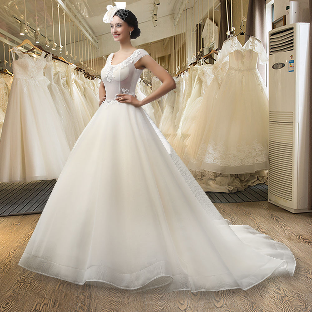 SL 3005 A line V neck Cap Sleeve Lace Backless Wedding Dress-in ...