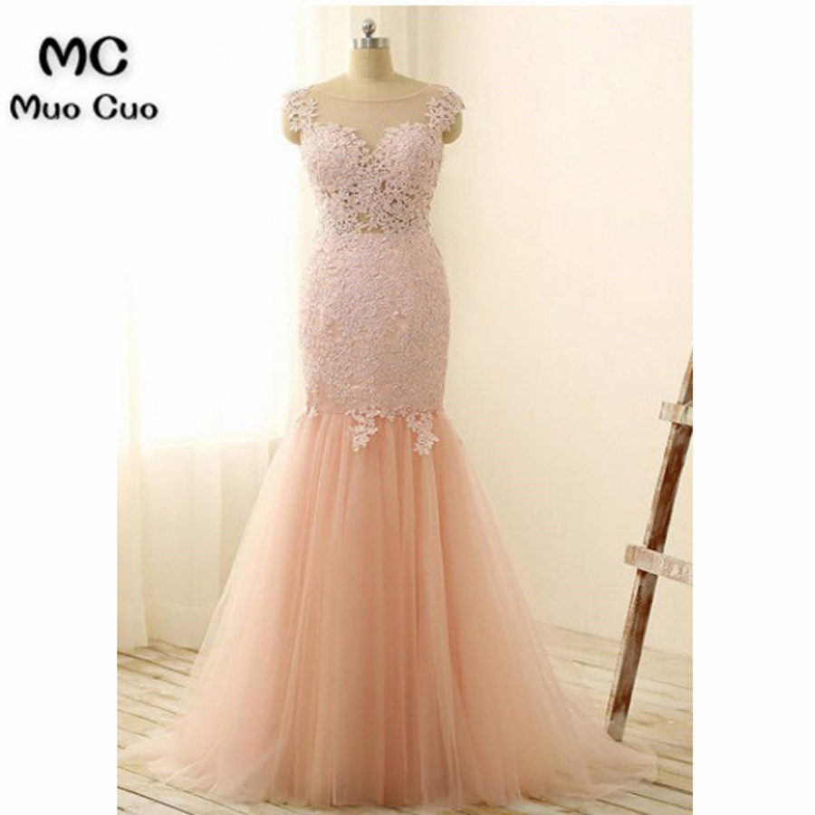 2018 Illusion Mermaid Prom Dresses Long With Appliques Dress For