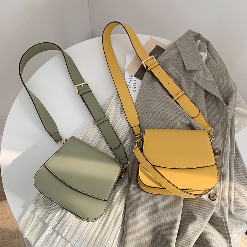 Chic Ladies Vintage Yellow Messenger Bag Designer PU Leather Luxury Handbags Minimalist Simple Wide Strap Crossbody Shoulder Bag