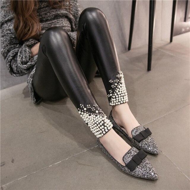 Fashion Women Leggings Winter Thick Warm Leggings High Waist Stretch Skinny Beads Rivet Pencil Pants Brand Faux Leather Leggings