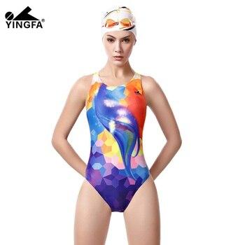 bbab5aed02f5 Patchwork Yingfa traje de baño de una pieza para mujer traje de baño Tanga  entrenamiento impermeable ...