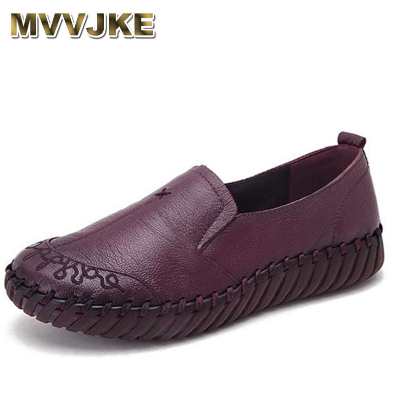 MVVJKE New 2018 Spring Women Flats Shoes Genuine Leather Casual Shoes Woman Solid Vintage Slip On Round Toe Women's Loafers fedonas retro black brown women flats heels shoes round toe buckles slip on new spring casual shoes women genuine leather shoes