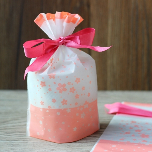 Small Size Cherry Blossom Drawstring Bags Cookies Wrers Snacks Party Favor Gift