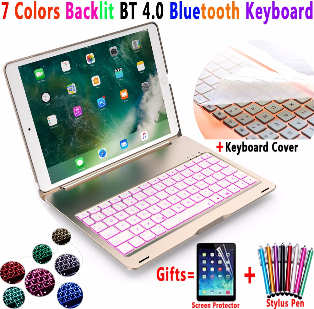 7 Colors Backlit Aluminum Alloy Wireless Bluetooth Keyboard PC Case Cover for Apple iPad Pro 10.5 A1701 A1709 Coque Capa Funda for apple ipad pro 10 5 keyboard case 7 colors backlit aluminum slim mini lithium battery bluetooth wireless keyboard cover j02t