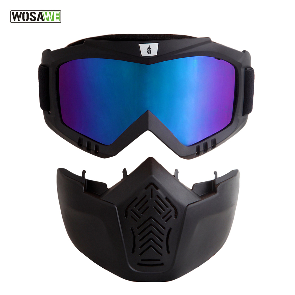 discount ski goggles d7j7  WOLFBIKE Men Women Windproof Snowboard Goggles Ski Glasses Motocross Glass  with Face Mask Protection Gear