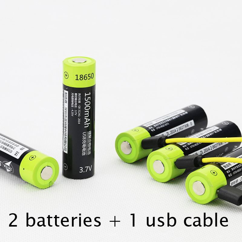 30%OFF 2PCS 1500MAH Lipo lithium polymer ZNTER battery 3.7V 18650 rechargeable cell + 1pcs USB cable for flashlight powerbank