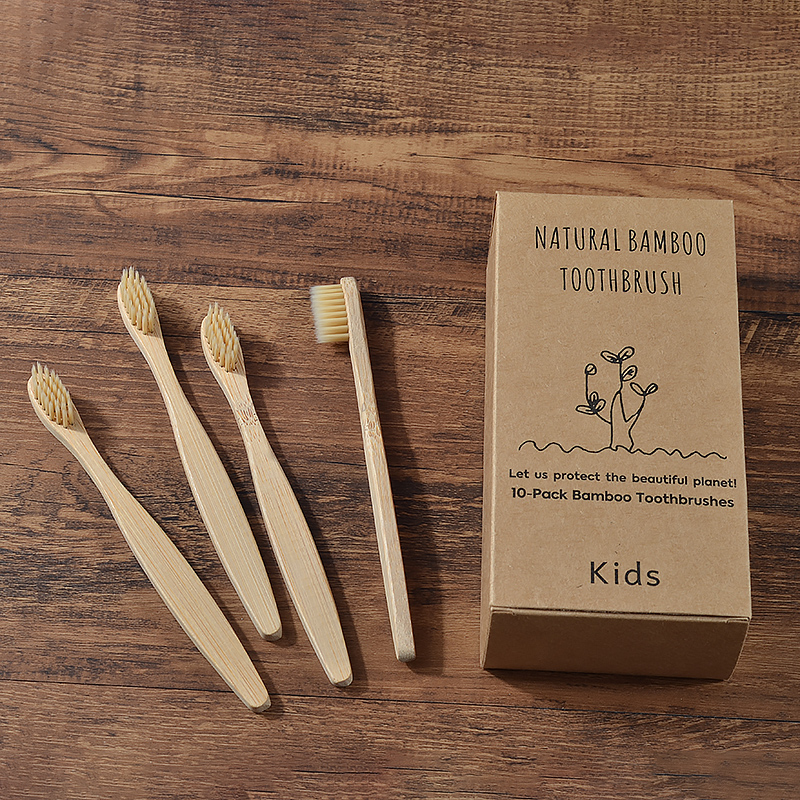 Childrens Bamboo Toothbrush 10PC Kids Soft Eco Biodegradable Plastic-Free Toothbrushes Oral Care Bamboo Tooth Brush Eco Handle