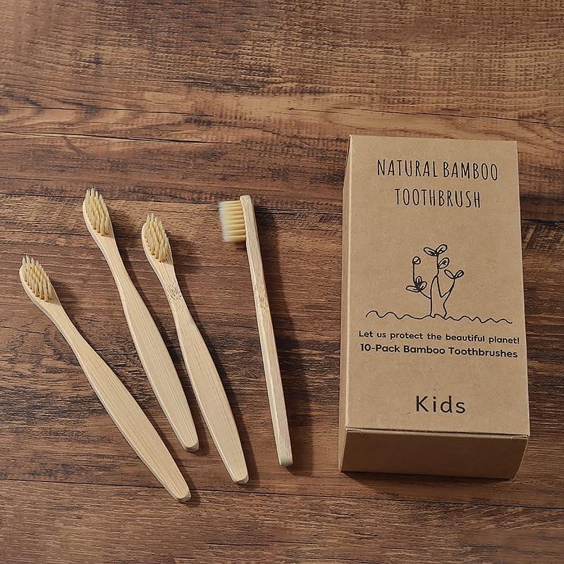 10 шт., детские бамбуковые зубные щётки