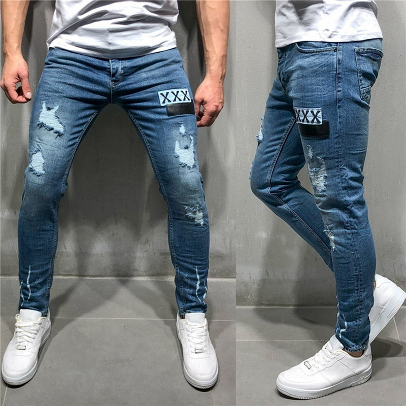 MoneRffi Men Stretchy Ripped Skinny Biker Embroidery Print Jeans Destroyed Hole Taped Slim Fit Denim Scratched High Quality Jean(China)