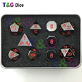 Black and Red Color- Solid Metal Polyhedral Role Playing Game RPG Dice Set