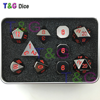 Black and Red Color Solid Metal Polyhedral Role Playing Game RPG Dice Set