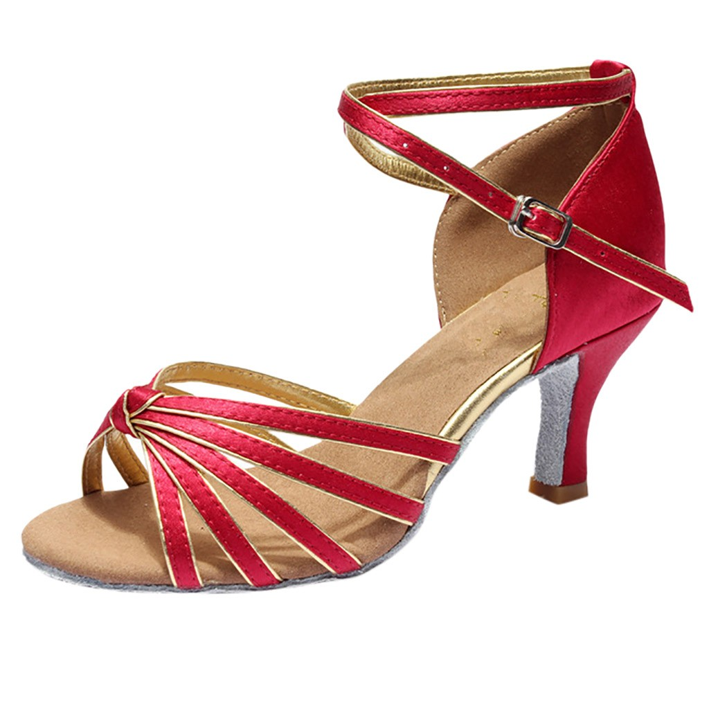 Tango Chaussures Rouge Mujer Noir Sandales Fille Talons Or D'été Med YWHe9ID2E