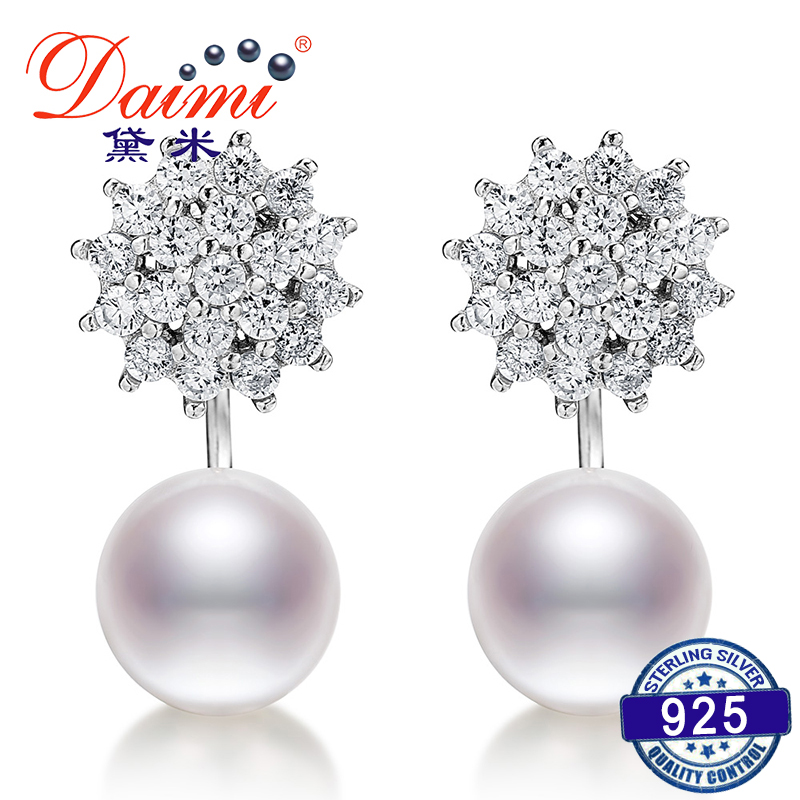 DAIMI 9 10mm Big Pearl Earrings 925 Silver Studs Earrings White Freshwater Pearl Fine Jewelry earrings crystal for christmas