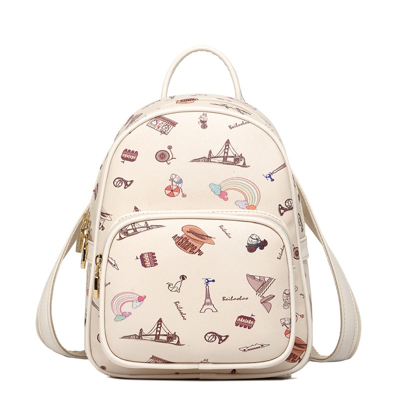 Korean Summer Fashion Leather Women Cartoon Printing Backpacks School Bags For Teenagers Girls Daily Backpacks Rucksacks Mochila