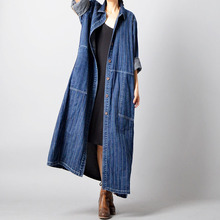 Outwear Trench-Coat Retro Autumn Long Women Ladies Denim Striped Loose