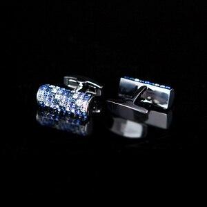 Image 2 - KFLK biżuteria koszula spinka do mankietu dla mężczyzn marka niebieski i biały kryształ spinki do mankietów luksusowy guzik ślubny wysokiej jakości goście