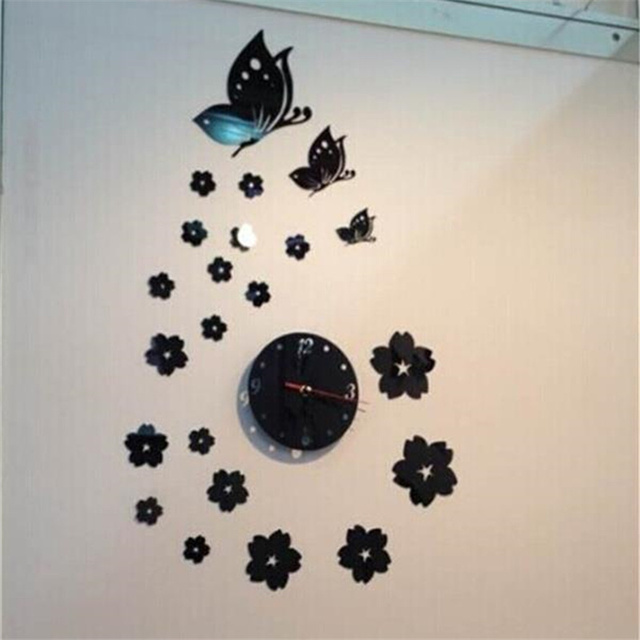 Adesivi Murali Low Cost.Us 3 8 5 Off Wall Sticker Creative Butterfly Mirror Wall Clock Home Decor Clock Wall Modern Adesivi Murali 3d Camera Da Letto Needlework In Wall