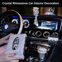 Luxury Diamond Crystal Car Steering Wheel Covers for Girls Women Rhinestone Ashtray Tissue Box Interior Decor Accessories